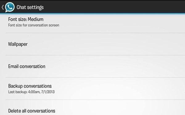 whatsapp settings for customization