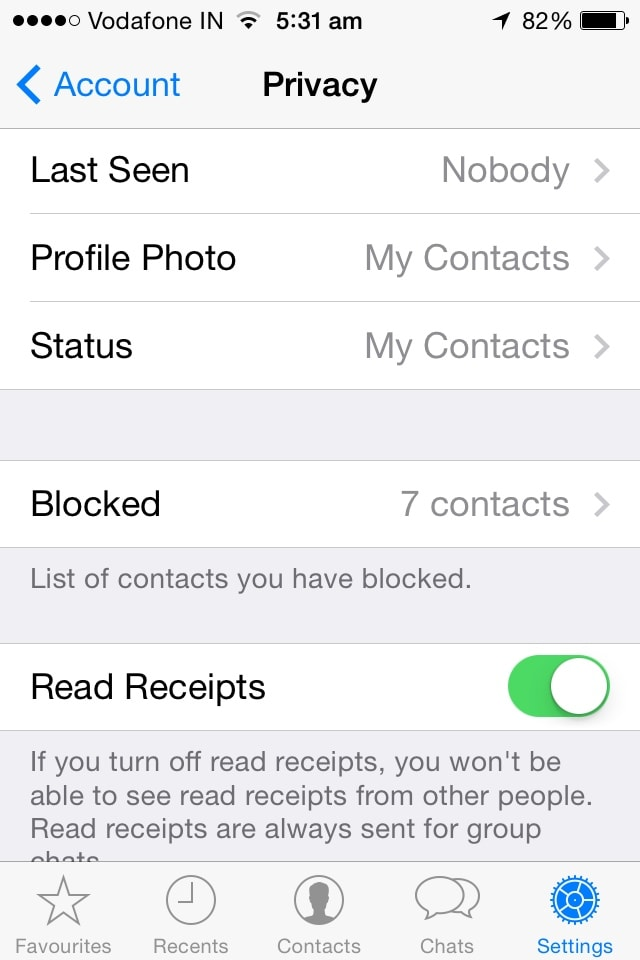 Hide Whatsapp Ticks on iPhone