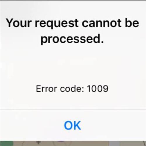 error 1009 iphone