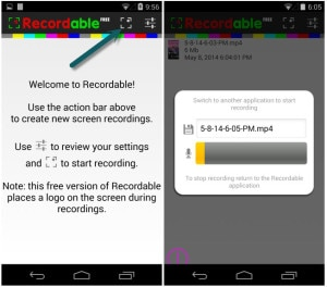 Recordable app activated