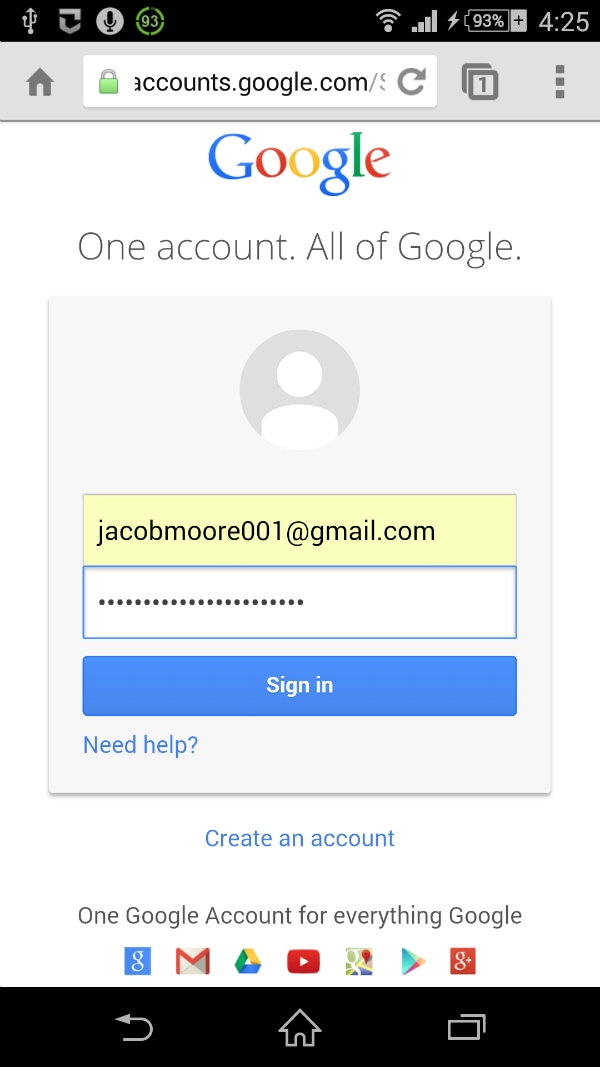 reset Gmail password on Android