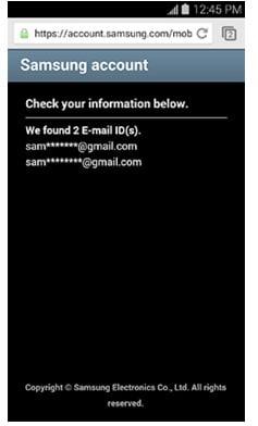 samsung account password reset