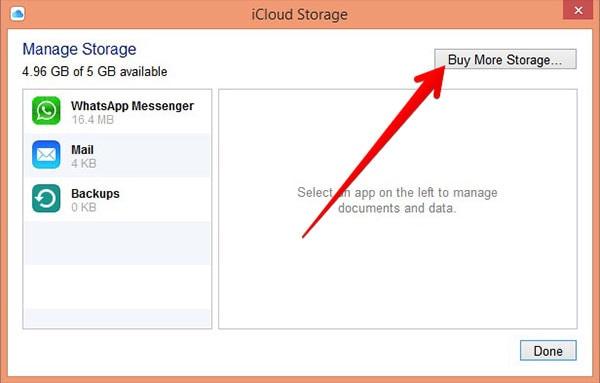 comprar almacenamiento para cambiar el plan de iCloud