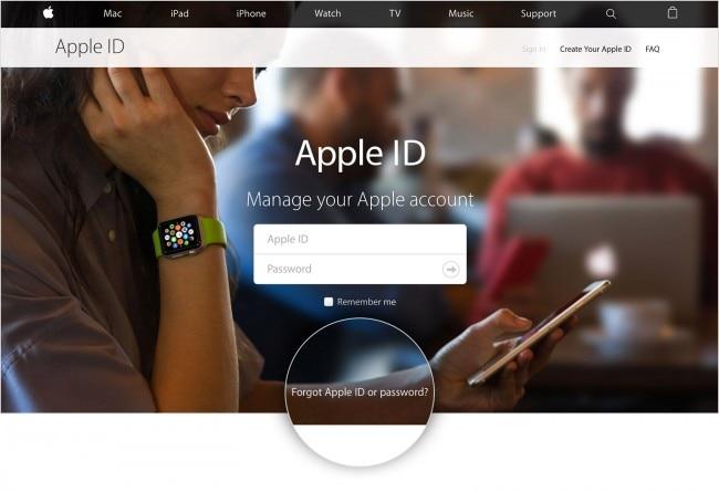 click forgot apple id