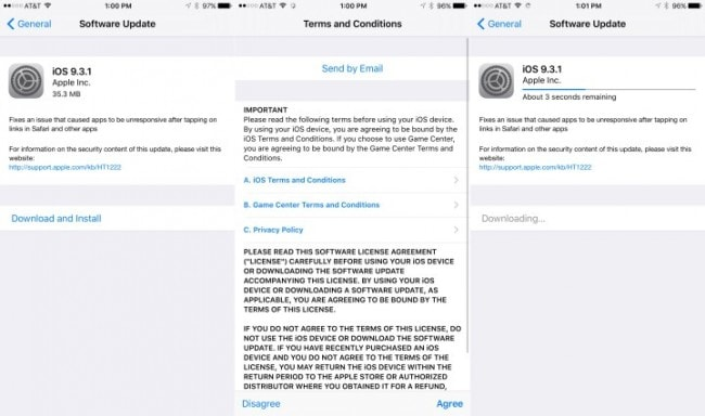 safari issues with iOS 9.3