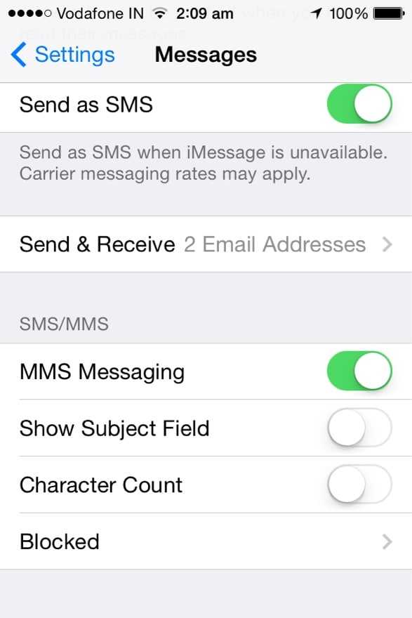 sync imessages across multiple devices-swipe down to the Send and Receive option