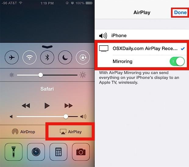airplay iphone naar mac - veweg van beneden naar boven op het scherm