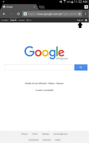 android Google web page