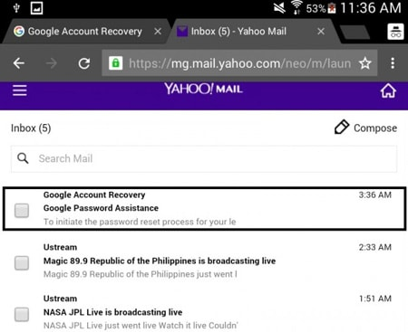 android Google reset email