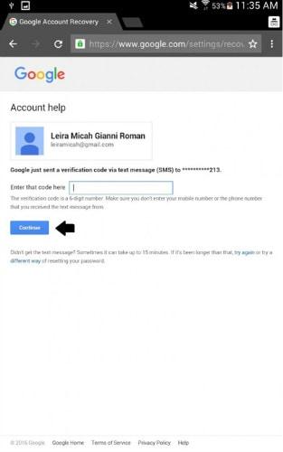 android Google enter verification code