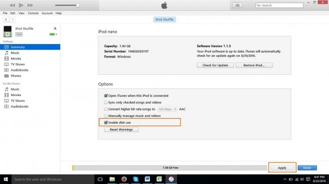 How to transfer music from iPod nano to computer-Enable Disk Usage