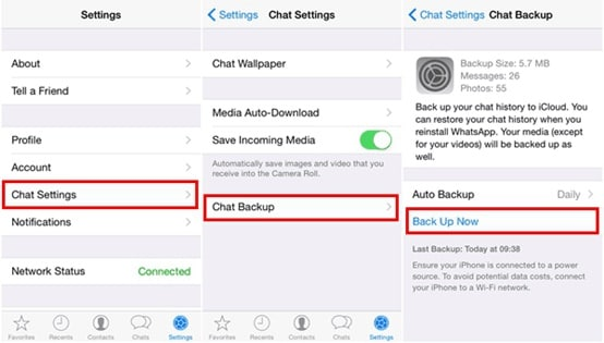 whatsapp photos from iphone to pc/mac -Take backup on iCloud