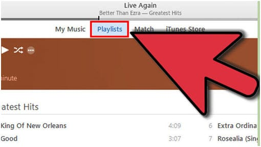 Export iTunes Playlist with Music Files via iTunes-click the Playlists option