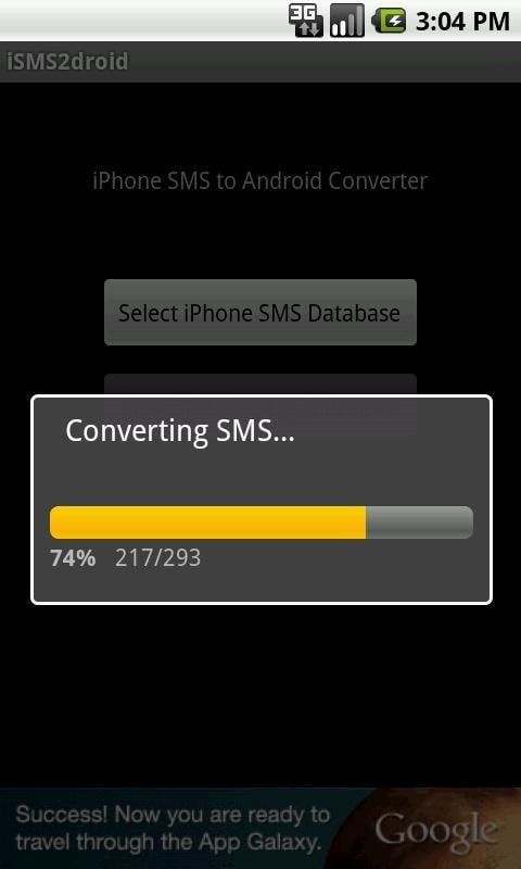 step 6 to transfer SMS from iPhone to Android