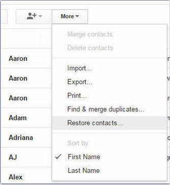 Retrieve Deleted Contacts from Gmail