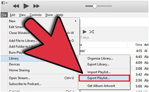 Export iTunes Playlist with Music Files via iTunes-Choose Export Playlist