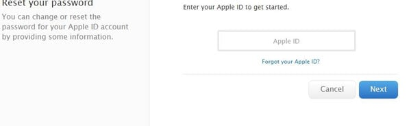 start to recover the forgotten iCloud password