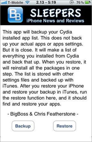 Maak een back-up van gejailbreakte iPhone apps met AptBackup.