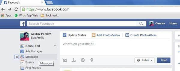 click facebook message