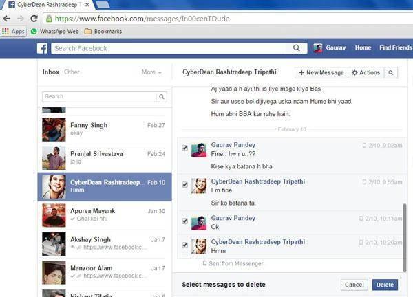 click delete facebook message