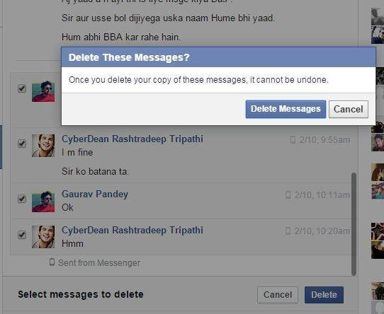 click the delete facebook messages button