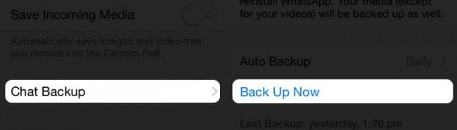 click Back Up Now to start a backup of WhatsApp photos and videos