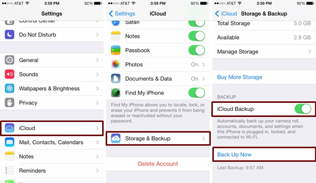 how to backup messages on iphone with iCloud