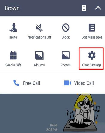 backup line chat manually- Select chat settings