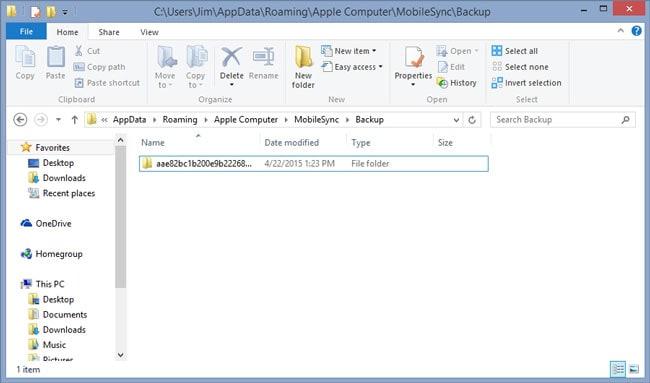 localización del respaldo de iTunes en Windows 7/8
