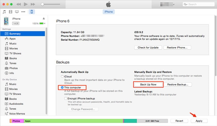 backup and restore messages with itunes