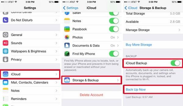 setting iCloud storage backup