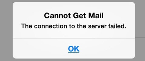 iPhone cannot get mail connection to the server failed