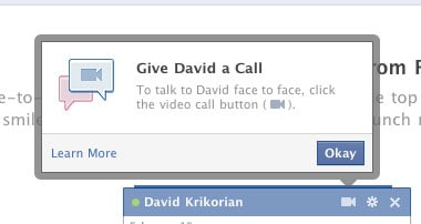 facebook video chat check button