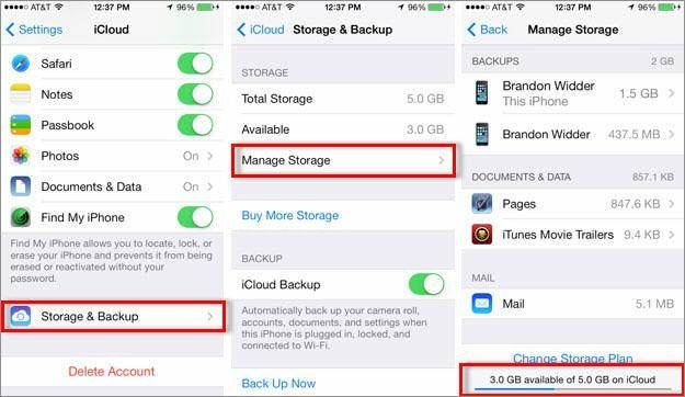 delete music on iPhone-Check iCloud Storage