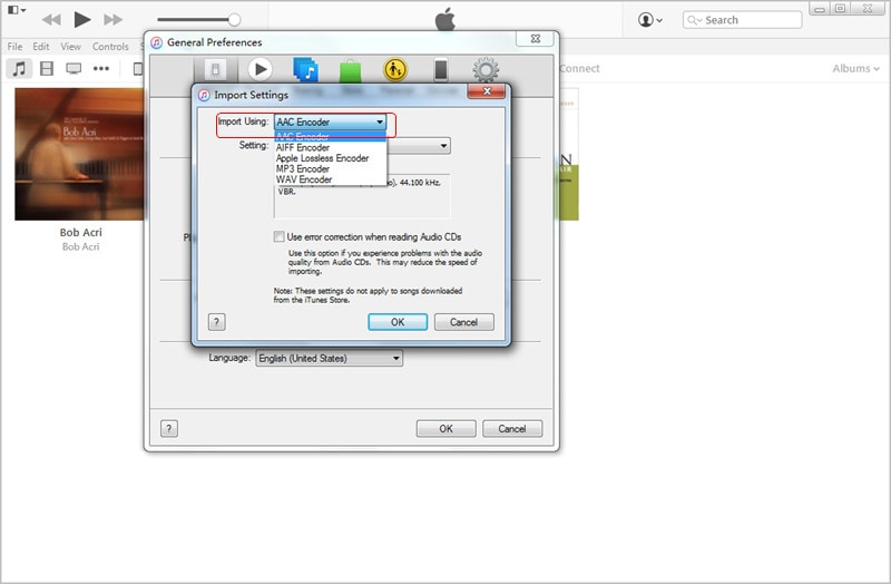 Transfer MP3 to iPad with iTunes: Choose Import File Format