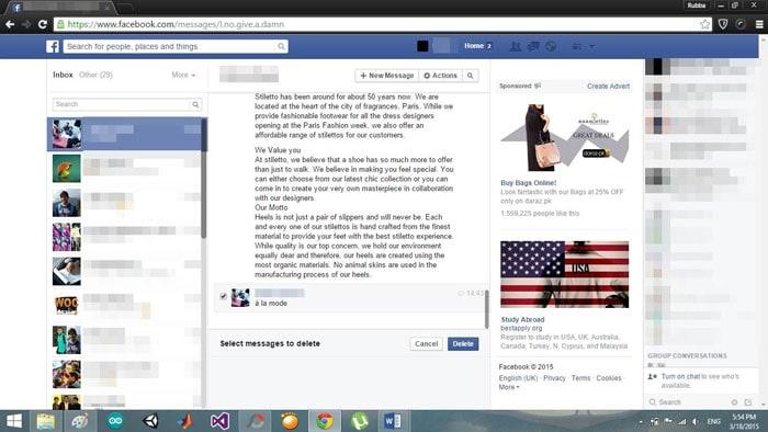 click delete facebook messages