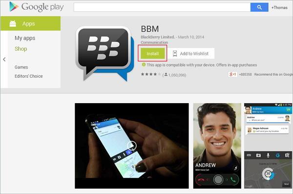 Download Blackberry Messenger voor Android
