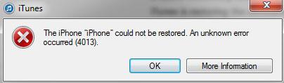 what is itunes error 4013