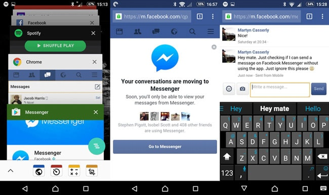 send facebook messages with no messenger