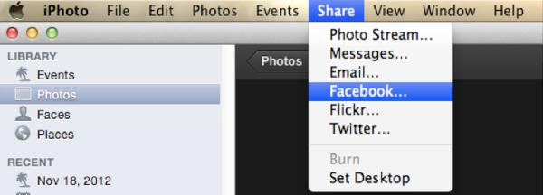 export iphoto to facebook-choose Facebook