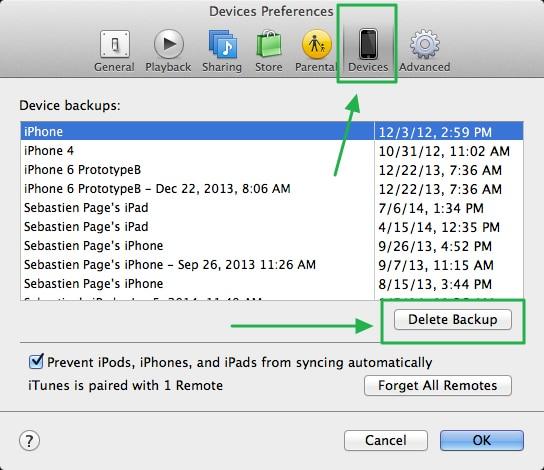 Verwijder een iPhone back-up uit iTunes.