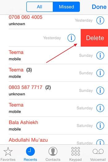 delete button to delete missed calls