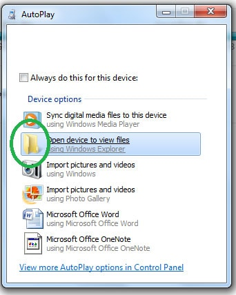 open device to view files