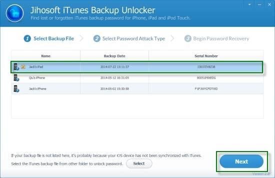Jihosoft iTunes Backup Unlocker for iPhone backup password