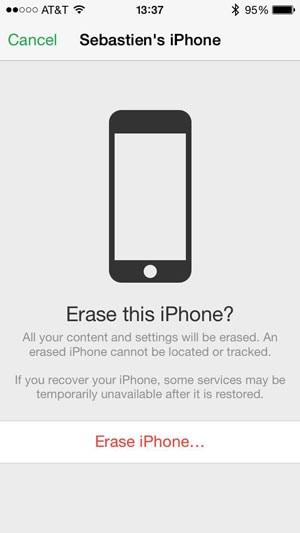 confirm erase iphone