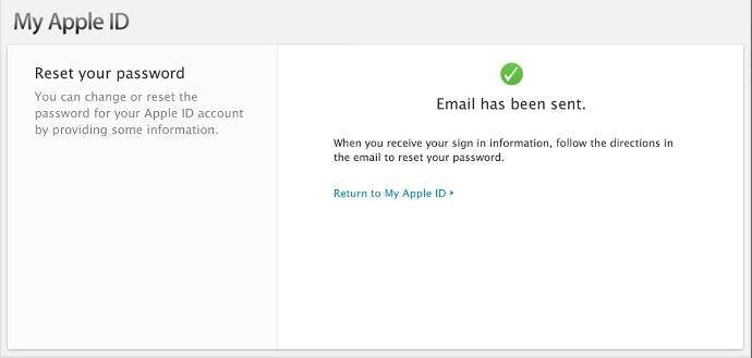 reset the password finished