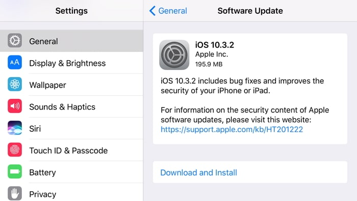 update ios version to fix not enough space to restore iPhone backup