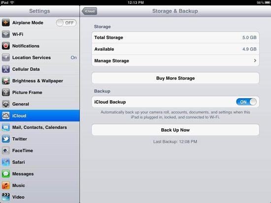 enable iCloud backup on iPad finished