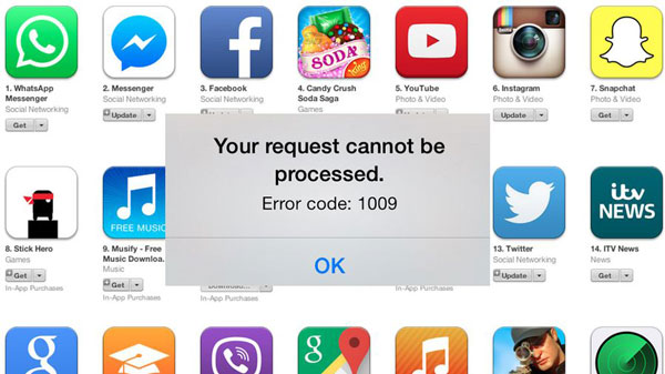 fix error 1009 iphone
