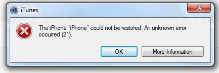 iphone error 21